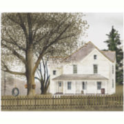White House with Tree Swing Canvas Wall Art