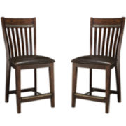 Maddox Set of 2 Faux-Leather Counter-Height Dining Chairs