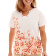 Alfred Dunner® Short-Sleeve Summer Floral Border T-Shirt
