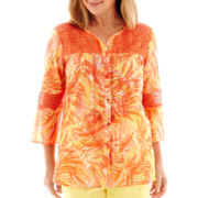 Alfred Dunner® 3/4-Sleeve Lace Tropical Inset Tunic