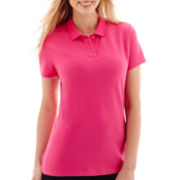 St. John's Bay® Short-Sleeve Y-Neck Polo Shirt - Petite