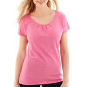 St. John's Bay® Short-Sleeve Pleated Top - Petite