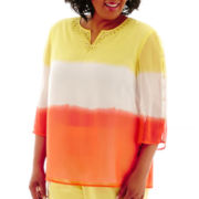 Alfred Dunner® Sunny Days 3/4-Sleeve Dip-Dye Tunic Top - Plus