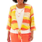 Alfred Dunner® Sunny Days 3/4-Sleeve Striped Layered Top - Plus