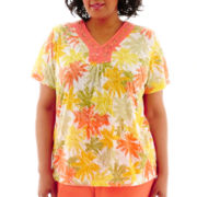 Alfred Dunner® Sunny Days Short-Sleeve Palm Print Burnout Top - Plus