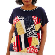 Alfred Dunner® American Dream Short-Sleeve Patch Print Blouse - Plus
