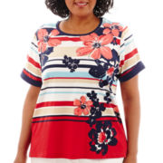 Alfred Dunner® American Dream Short-Sleeve Asymmetrical Floral Striped Top - Plus
