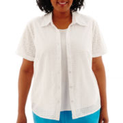 Alfred Dunner® Ocean Drive Short-Sleeve Eyelet Layered Top - Plus