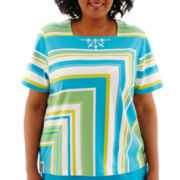 Alfred Dunner® Ocean Drive Short-Sleeve Mitered Striped Top - Plus