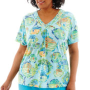 Alfred Dunner® Ocean Drive Short-Sleeve Tropical Fish Top - Plus