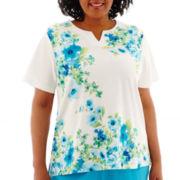 Alfred Dunner® Ocean Drive Short-Sleeve Watercolor Floral Top - Plus