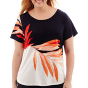 Liz Claiborne® Short-Sleeve Print Tee - Plus