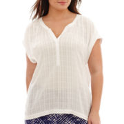 a.n.a® Short-Sleeve Oversized Woven Popover Shirt - Plus