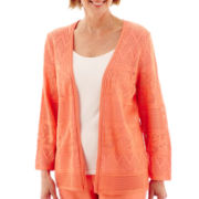 Alfred Dunner® Sweet Melody 3/4-Sleeve Pointelle Sweater Shell - Petite