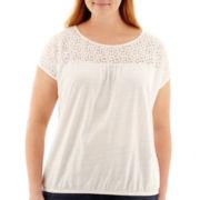 St. John's Bay® Short-Sleeve Lace-Yoke Knit Top - Plus