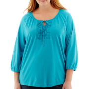 St. John's Bay® 3/4-Sleeve Knit Eyelet-Inset Peasant Top - Plus
