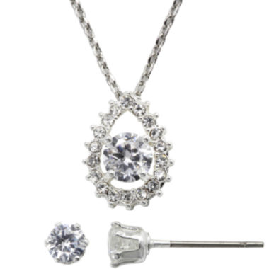 jcpenney.com | Sparkle Allure™ Teardrop Pendant Necklace & Stud Earring Set