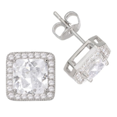 jcpenney.com | Sparkle Allure™ Pure Silver-Plated Square Cubic Zirconia Earrings