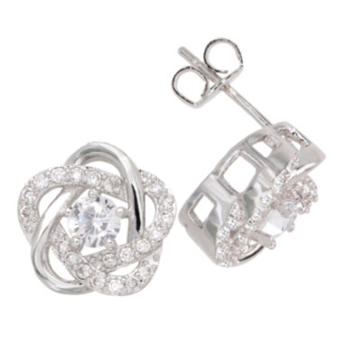 jcpenney.com | Sparkle Allure™ Pure Silver-Plated Cubic Zirconia Floral Earrings