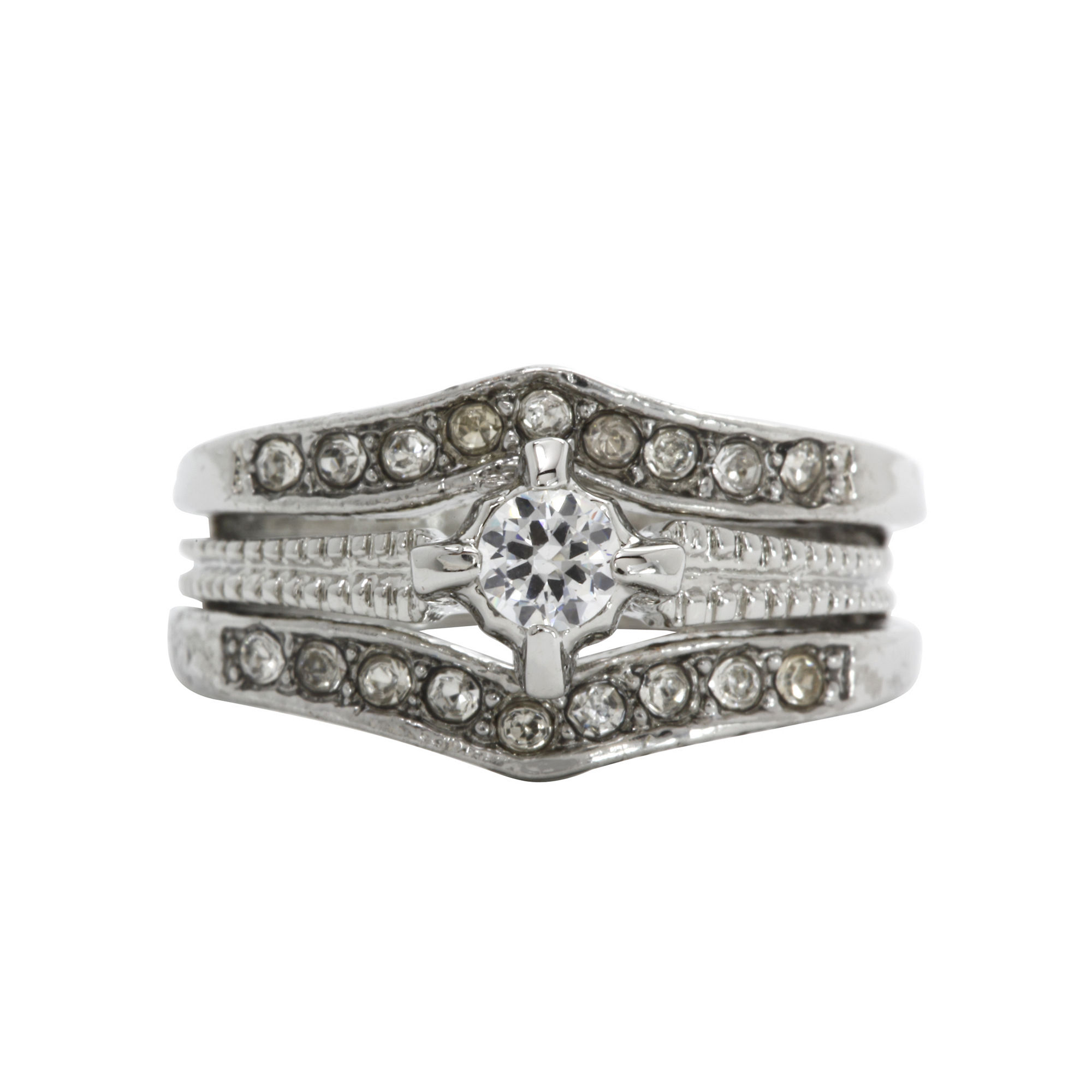city x city Silver-Plated Cubic Zirconia Vintage-Style Ring Set plus size,  plus size fashion plus size appare