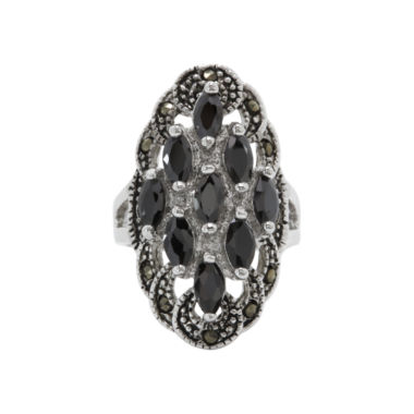 jcpenney.com | city x city® Black Crystal & Marcasite Cluster Ring
