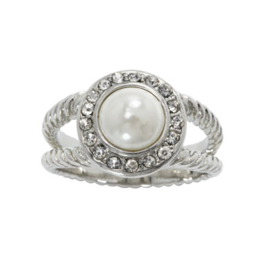 jcpenney.com | city x city® Pearlescent & Clear Crystal Double-Shank Ring
