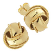 Gold-Plated Love Knot Earrings with Twisted Rope Edges