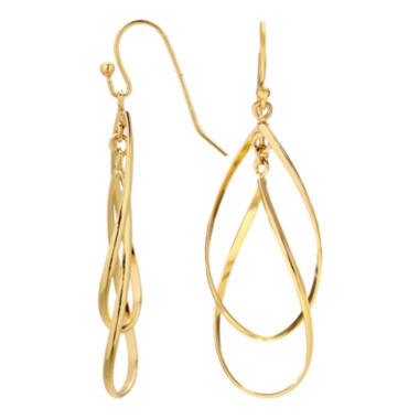 jcpenney.com | Silver Reflections™ Gold Over Brass Double Teardrop Earrings