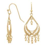 Gold Over Brass Filigree Fringed Teardrop Chandelier Earrings