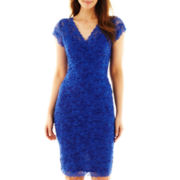 Blu Sage Shutter-Pleat Lace Dress