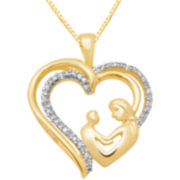 1/10 CT. T.W. Diamond Heart Mother's Pendant Necklace