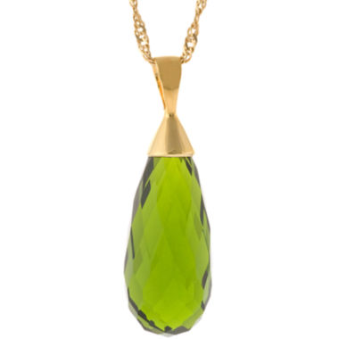 jcpenney.com | ATHRA Green Glass Teardrop Pendant Necklace