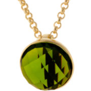 ATHRA Green Stone Half Dome Pendant Necklace
