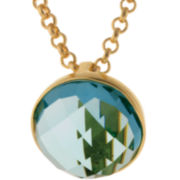 ATHRA Aqua Glass Stone Half Dome Pendant Necklace