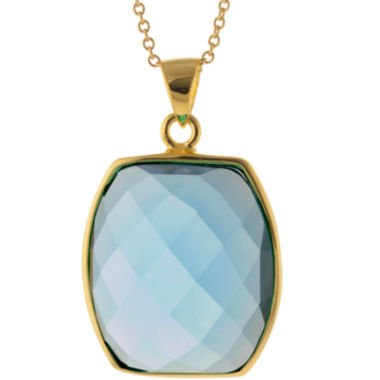 jcpenney.com | ATHRA Aqua Glass Hexagon Pendant Necklace
