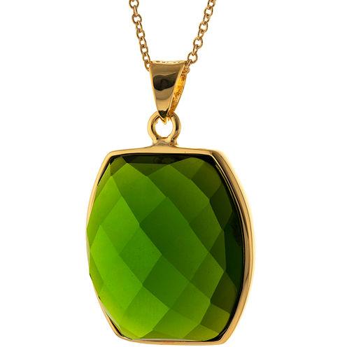 ATHRA Green Stone Hexagon Pendant Necklace
