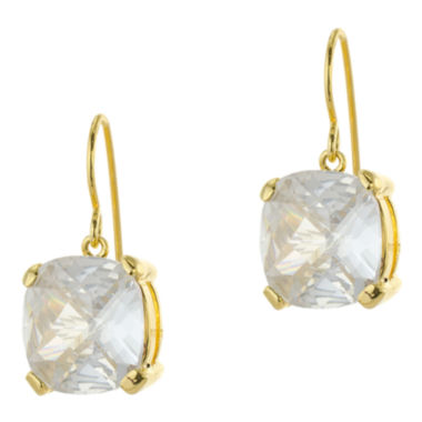 jcpenney.com | CZ by Kenneth Jay Lane Gold-Tone Cushion-Cut Drop Earrings