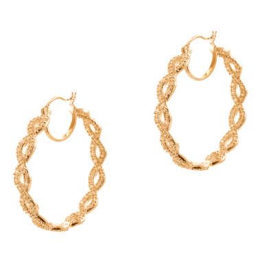 jcpenney.com | CZ by Kenneth Jay Lane Rose Gold-Tone Infinity Hoop Earrings
