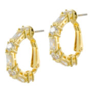 CZ by Kenneth Jay Lane Gold-Tone Baguette & Round Hoop Earrings