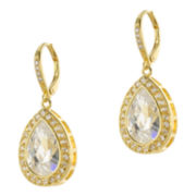 CZ by Kenneth Jay Lane 18K Yellow Gold-Plated Pear-Shaped Drop Earrings