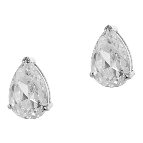 CZ by Kenneth Jay Lane 10 CT. T.W. Rhodium-Plated Pear Stud Earrings