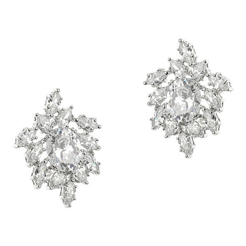 CZ by Kenneth Jay Lane Silver-Plated Freeform Cluster Earrings