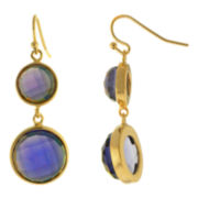 ATHRA Purple Glass Round Double-Drop Earrings