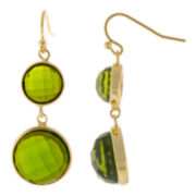 ATHRA Green Glass Round Double-Drop Earrings