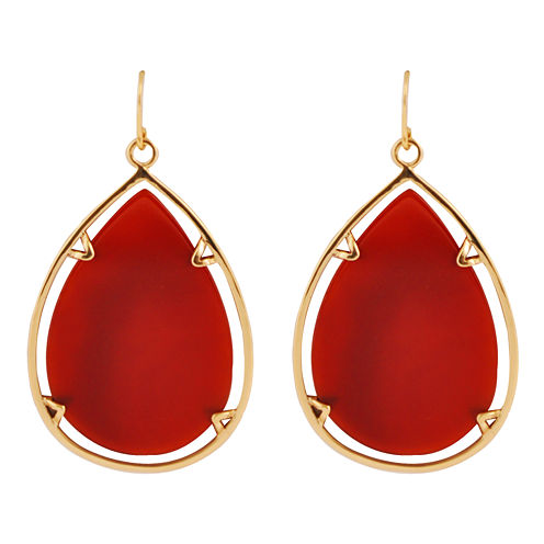 Art Smith by BARSE Red Glass Large Teardrop Earrings