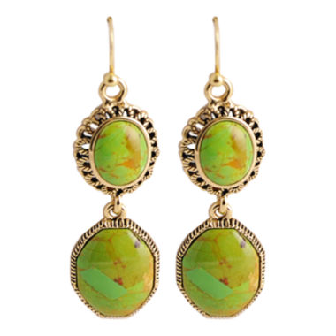 jcpenney.com | Art Smith by BARSE Green Turquoise Double-Drop Earrings