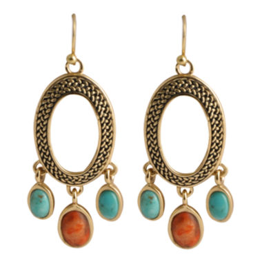 jcpenney.com | Art Smith by BARSE Turquoise & Coral Oval Earrings