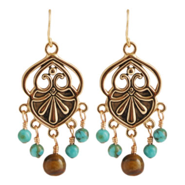 jcpenney.com | Art Smith by BARSE Turquoise & Tiger's Eye Chandelier Earrings