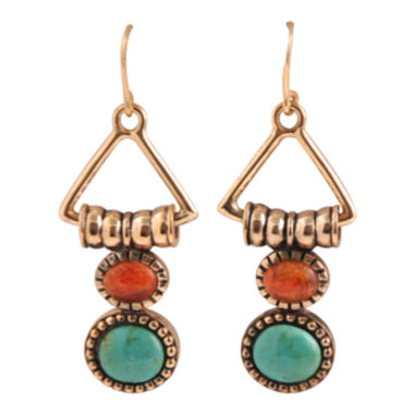 jcpenney.com | Art Smith by BARSE Turquoise & Coral Triangle Earrings
