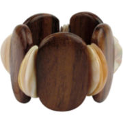 Designs by Adina Neutral Resin & Wood Stretch Bracelet